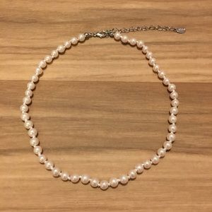 Pearl Choker Necklace, Jewel Chain Clasp Jewelry